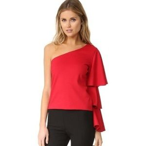 Torn by Ronny Kobo Red Carmen One Sleeve Top